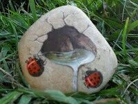 Painted rock, painted stone, stone painting, rock painting. Rock art, Stone art. Ladybugs waterfall 3D