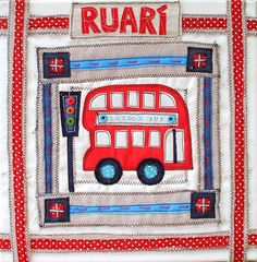 LONDON BUS BABY Art Personalized Red London Bus by SwinkyDoo