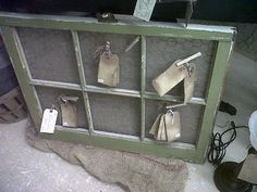 window with burlap and chicken wire