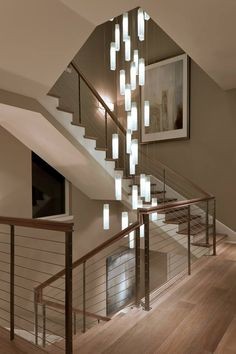 Tanzania Chandelier - Contemporary Living Room Stairwell Light Fixture - contemporary - Staircase - New York - Shakúff Stairwell Light Fixture, Stairwell Chandelier, Stairway Lighting, Modern Chandelier, Home Lighting, Modern Lighting, Lighting Ideas, Accent Lighting, Pendant Lighting