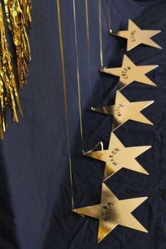 DIY walk of fame stars to use as balloon weights at your Oscars viewing party.