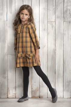 Plaid Dress with drop waist, pleats and bow