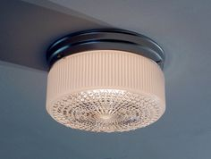 Mid Century Vintage Flush Mount Ceiling Light Shade New Satin Nickel Base