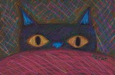 """Another black cat drawing!  Today's drawing """"Wake Up. Now."""" is of a black cat peering over a blanket imploring its human companion to wake up for breakfast. The drawing is drawn with Prismacolor Pencil on black paper. I hope that you like it!  For an artistic challenge I am making a drawing every day in November. Each drawing will be placed for auction on here on my blog. The bidding on today's drawing starts at just $20 and the BUY NOW is just $35!  Enter your bids now at…"""