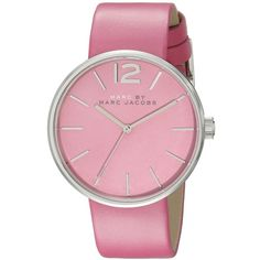 Marc by Marc Jacobs Analog Display Analog Quartz Pink Watch (1 965 ZAR) ❤ liked on Polyvore featuring jewelry, watches, accessories, analog watches, leather-strap watches, analog wrist watch, quartz jewelry and pink watches