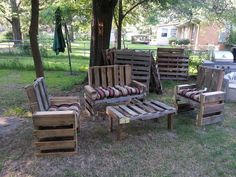 Outdoor furniture made from pallets.