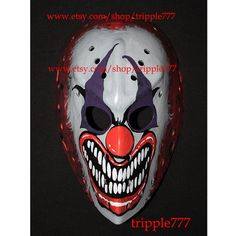 RARE vintage style fiberglass Roller Street dek NHL air ice hockey goalie face mask helmet - custom made the clown red nose HO71