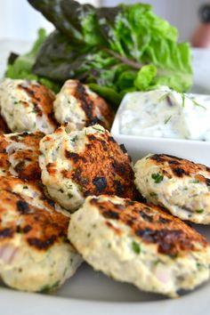 Greek Lettuce Wrapped Turkey Sliders with greek yogurt tzatziki... low carb, low cal & full of flavor!
