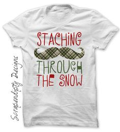 Iron on Winter Shirt PDF - Christmas Iron on Transfer / Staching Through the Snow / Kids Christmas Outfit / Boys Christmas Shirt IT507-P by ScrapendipityDesigns on Etsy