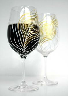 Hand Painted Wine Glasses With Ivory & Gold Peacock Feathers - Pair Of 2 by Mary Elizabeth Arts on Gourmly