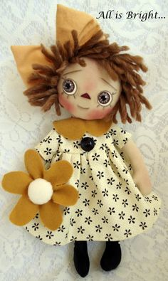 Raggedy Doll  Sunshine by Allisbright on Etsy, $38.00