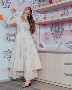 Gota Work Front Open Kurti With Plazo by Sourgrape's Online - Online shopping for Kurtas on MyShopPrime - Kurti Designs Party Wear, Kurta Designs, Indian Gowns, Indian Attire, Indian Wear, Ethnic Outfits, Indian Outfits, Trendy Outfits, Indian Designer Outfits