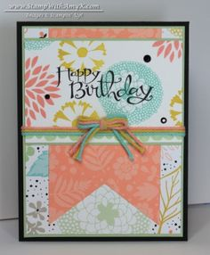 Amy used Petal Parade and the coordinating Sweet Sorbet dsp & baker's twine (all SAB) on her lovely card. Additional items were Sassy Salutations and Banner Framelits. All supplies from Stampin' Up!