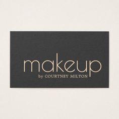 #makeupartist #businesscards - #Minimalist Elegant Dark Makeup Artist Business Card