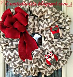 Chevron-y Owl Burlap Wreath!