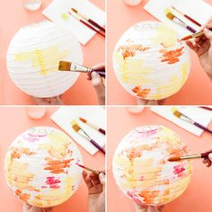 Follow this easy DIY tutorial to upgrade paper lanterns with watercolor paints for your spring party.