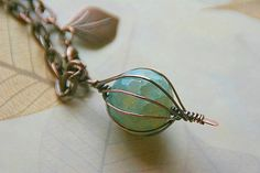 Caged Blue Lace Agate Copper Pendant by AllowingArtDesigns on Etsy, $48.00