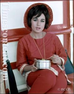 Nanda, a successful bollywood actress of the 60's and 70's era, having her food after the film shoot, at a film set in Bombay.