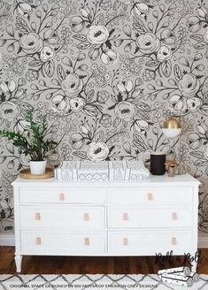 f95e9aa0fe92 Black and white wallpaper Nursery wall mural Floral Grey And White Wallpaper