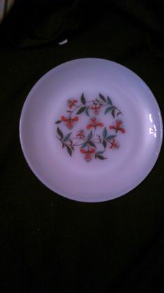 """Fire-King 7 1/2 """" plate white with floral pattern 1950's"""