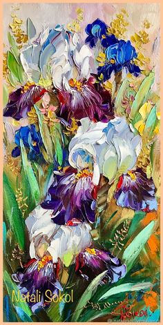 Iris Painting, Painting & Drawing, Watercolor Flowers, Watercolor Paintings, Abstract Flower Art, Pressed Flower Art, Texture Painting, Anime Comics, Matisse