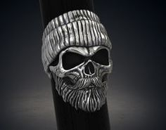 large ring bearded skull hipster stl 3d model for 3d printing