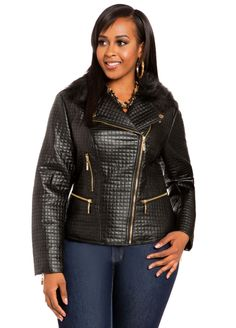 6d6749fda87ec Quilted Moto Jacket - Ashley Stewart Plus Fashion