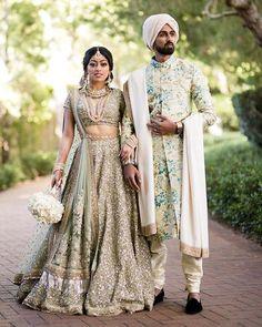 Wedding Inspiration from #Sabyasachi #bridal #lehenga and the groom's floral Sherwani #sequin #fashion #ootd #indianbride #indianwedding #shaadibazaar #wedding #indianwedding