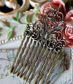 Brass hair pins, clips, combs vintage DIY hand made jewelry (j005)  #handmade #jewelry