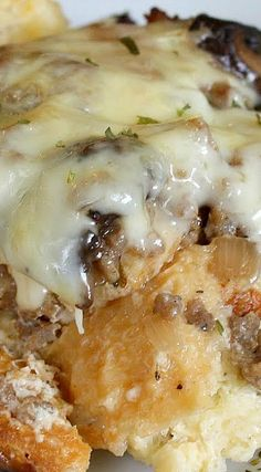 Asiago, Mushroom, and Sausage Strata - can be breakfast and dinner recipe!