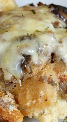 Asiago, Mushroom, and Sausage Strata