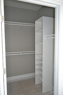 Good closet design. Two rows for shirts or folded pants, open drawers for tanks, tshirts, and shorts, shoes along the bottom, and one tall section for dresses and pants! Opposite wall for hanging accessories?