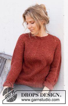 Amur Maple / DROPS 217-12 - Ilmaiset neuleohje DROPS Designilta Drops Design, Sweater Knitting Patterns, Free Knitting, Crochet Patterns, Amur Maple, Crochet Diagram, Work Tops, Stockinette, Pulls