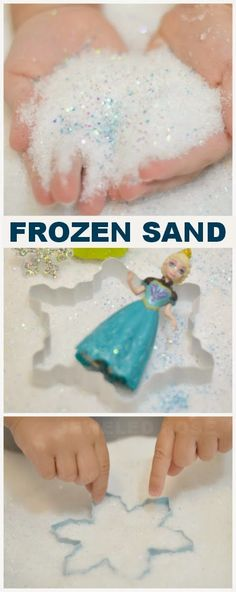 Make your own Frozen Sand- The sand feels like grains of ice & shimmers and sparkles with intensity, yet acts just like traditional sand from the beach {Inspired by Disney's Cool birthday party activity for frozen theme Frozen Theme, Frozen Birthday Party, Frozen Party, Girl Birthday, Princess Birthday, Birthday Ideas, Birthday Decorations, Turtle Birthday, Princess Theme