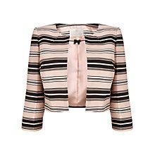 Jacques Vert Stripe Cropped Jacket, Blossom