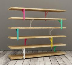 """This shelving unit, from the minds of Elia Maurizi and Francesco Pepa, uses Ekby series and some paint. It also is """"on trend"""" with natural w..."""