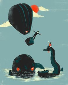 Two of my favorite things: balloons and giant sea creatures    Creative Illustrations by Jay Fleck