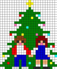 Christmas Tree Perler Bead Pattern | Bead Sprites | Holidays Fuse Bead Patterns