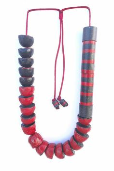 eco friendly jewelry Paper mache necklace with big red and black beads Recycled…