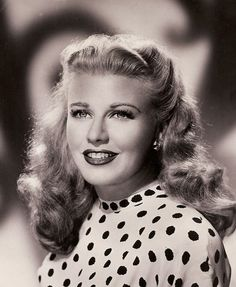 """Ginger Rogers was one of the celebrities whose picture Anne Frank placed on the wall of her bedroom in the """"Secret Annex"""" while in hiding during the Nazi occupation of Amsterdam, Holland. Hollywood Stars, Hollywood Icons, Golden Age Of Hollywood, Hollywood Actresses, Actors & Actresses, Vintage Hollywood, Old Hollywood Glamour, Vintage Glamour, Classic Hollywood"""
