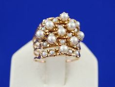 14k Y Gold Harem Ring 5 Stacking with Cultured Pearl | eBay 950