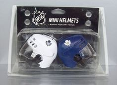 NHL Hockey Toronto Maple Leafs Mini Helmets Home/Away Team Colours Blue & White #NHL #TorontoMapleLeafs