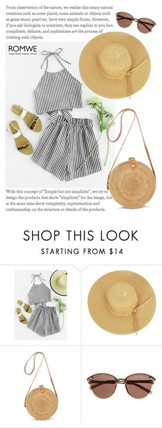 """Halter Neck Striped Bow Open Back And Shorts Set"" by manuelsbolli ❤ liked on Polyvore featuring Witchery"