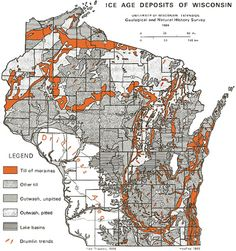 Ice age deposits of Wisconsin.