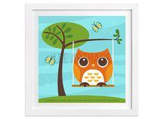 48 Owl Wall Art  Owl on Swing Wall Art  Owl Print  by leearthaus