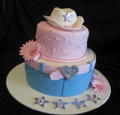 cowgirl cake:) for Sydney and sierras birthday! Fancy Cakes, Cute Cakes, Pretty Cakes, Beautiful Cakes, Amazing Cakes, Cowgirl Cakes, Western Cakes, Cowgirl Party, Cowgirl Birthday