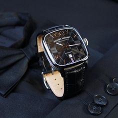 """Black on black on black! Our """"Kandy"""" is also available in completely black outfit. Black PVD watch case including white gold wires, black check dial and black high-quality alligator leather strap. #alexandershorokhoff #avantgarde #artonthewrist #black #kandy #automaticwatch #kandinsky #blackwatch #schwarzeuhr #blackdial #blackonblack"""