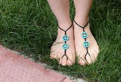 PEACE  barefoot sandal for elegant foots by HIPPYANNE on Etsy, $15.00