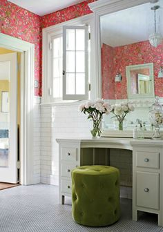 Thibaut | Guadeloupe Wallpaper from the New Jubilee Collection | Tidewater Velvet Tufted Stool | Vanity | White Subway Tiles