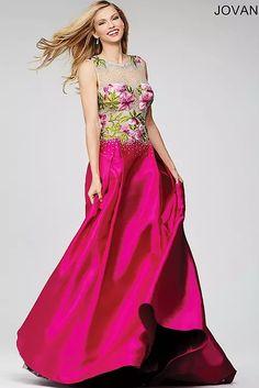... official photos f61e1 8d3cf Jovani Fuchsia Floral Prom Dress 24915 - Wedding  Dresses Bridal Gowns cb91afd18